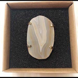Genuine Agate Gem Adjustable Ring Owlcrate
